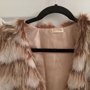 Decree Jackets & Coats - Tan fur vest